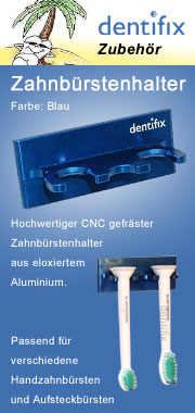 zahnbuerstenhalter aus aluminium, blau eloxiert